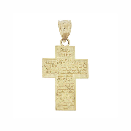14k Yellow Gold, Small Padre Nuestro Spanish Lord's Prayer Cross Pendant Religious Charm 14mm (P019-021)