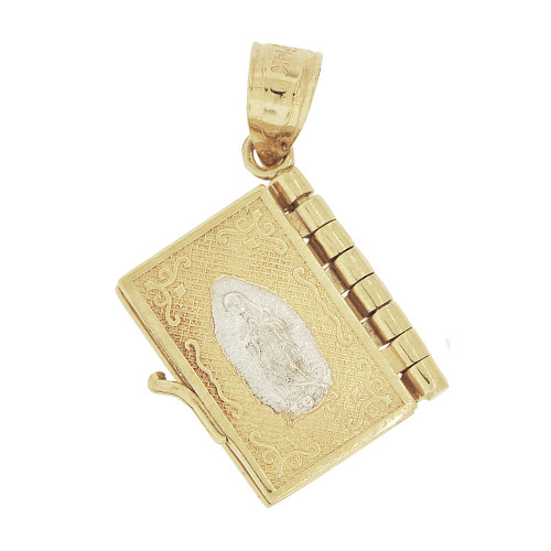 14k Yellow Gold, Holy Bible Book Padre Nuestro Pendant Religious Charm 13mm (P021-019)