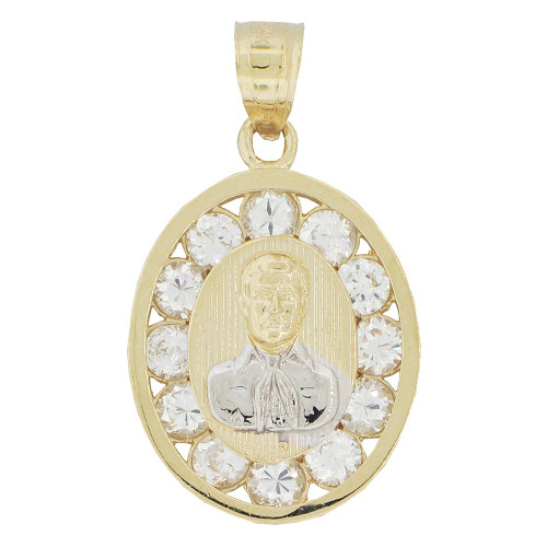 14k Yellow Gold White Rhodium, Malverde Medallion Pendant Charm Created CZ Crystals 15mm (P022-005)