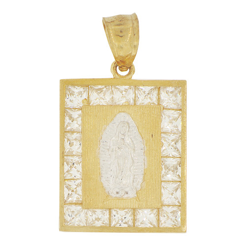 14k Yellow Gold White Rhodium, Virgin Mary Pendant Religious Charm Created CZ Crystals 17mm (P023-015)