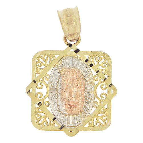 14k Tricolor Gold, Virgin Mary Guadalupe Pendant Religious Charm Filigree 16mm (P024-016)