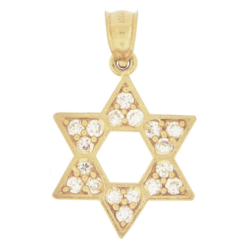 14k Yellow Gold, Star of David Pendant Charm Created CZ Crystals 16mm (P024-017)