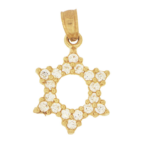 14k Yellow Gold, Small Star of David Pendant Charm Created CZ Crystals 11mm (P024-018)