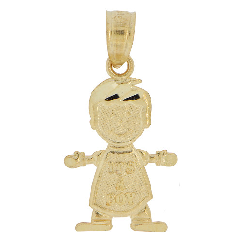 14k Yellow Gold, Mini Size Baby Boy Pendant Charm Its A Boy 11mm (P027-001)