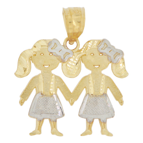 14k Yellow Gold White Rhodium, Twin Sisters Girls Pendant Charm 20mm (P027-005)
