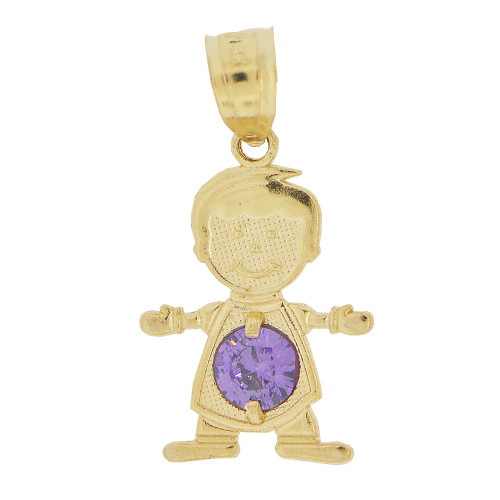 14k Yellow Gold, Small Boy Pendant Charm Violet February Created CZ Birthstone 13mm (P027-011)