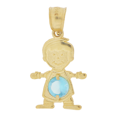 14k Yellow Gold, Small Boy Pendant Charm Aqua Blue March Created CZ Birthstone 13mm (P027-012)