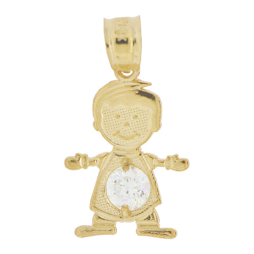 14k Yellow Gold, Small Boy Pendant Charm White April Created CZ Birthstone 13mm (P027-013)