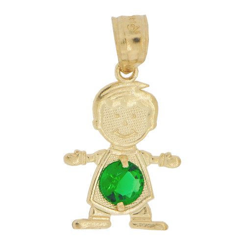 14k Yellow Gold, Small Boy Pendant Charm Green May Created CZ Birthstone 13mm (P027-014)