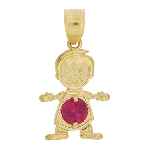14k Yellow Gold, Small Boy Pendant Charm Red July Created CZ Birthstone 13mm (P027-016)