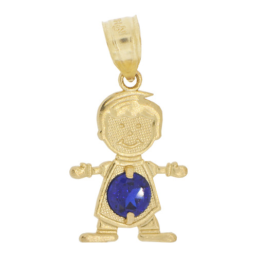 14k Yellow Gold, Small Boy Pendant Charm Dark Blue September Created CZ Birthstone 13mm (P027-018)