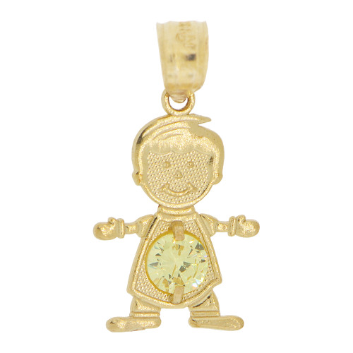 14k Yellow Gold, Small Boy Pendant Charm Yellow November Created CZ Birthstone 13mm (P027-020)
