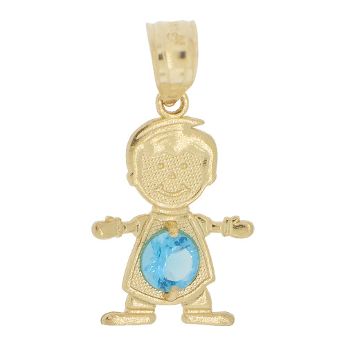14k Yellow Gold, Small Boy Pendant Charm Blue December Created CZ Birthstone 13mm (P027-021)