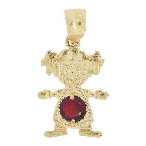 14k Yellow Gold, Small Girl Pendant Charm Red January Created CZ Birthstone 12mm (P027-022)