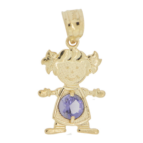 14k Yellow Gold, Small Girl Pendant Charm Violet February Created CZ Birthstone 12mm (P027-023)
