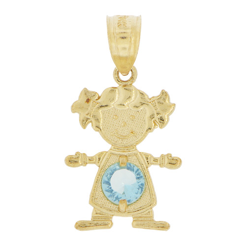 14k Yellow Gold, Small Girl Pendant Charm Aqua Blue March Created CZ Birthstone 12mm (P027-024)