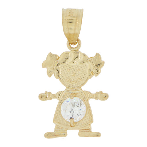 14k Yellow Gold, Small Girl Pendant Charm White April Created CZ Birthstone 12mm (P027-025)