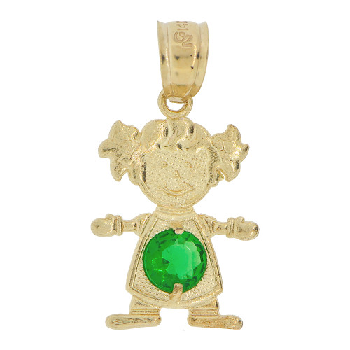14k Yellow Gold, Small Girl Pendant Charm Green May Created CZ Birthstone 12mm (P027-026)