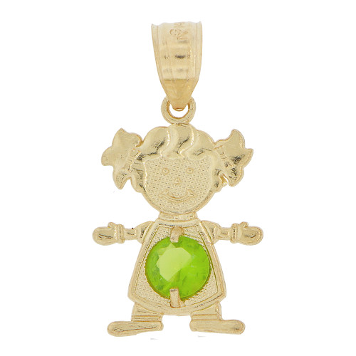14k Yellow Gold, Small Girl Pendant Charm Light Green August Created CZ Birthstone 12mm (P027-029)