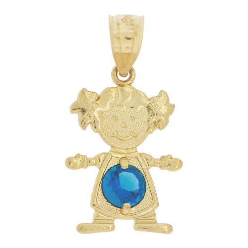 14k Yellow Gold, Small Girl Pendant Charm Blue September Created CZ Birthstone 12mm (P027-030)