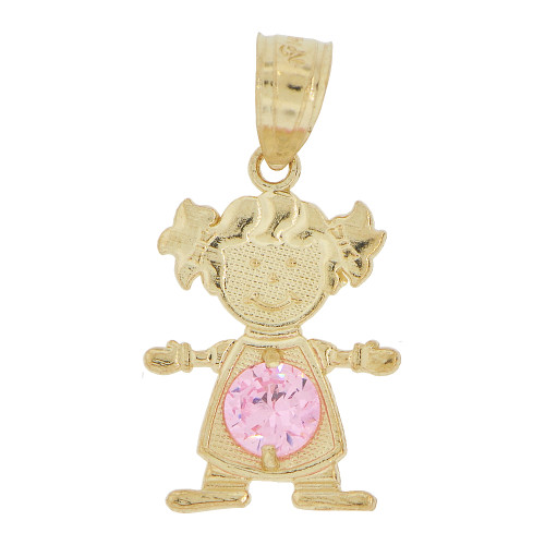 14k Yellow Gold, Small Girl Pendant Charm Pink October Created CZ Birthstone 12mm (P027-031)