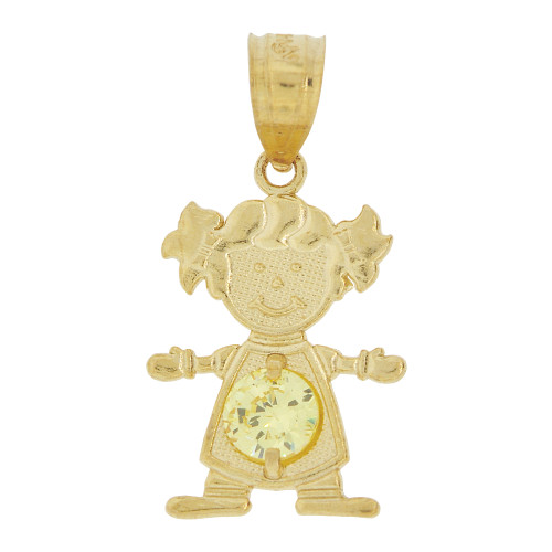 14k Yellow Gold, Small Girl Pendant Charm Yellow November Created CZ Birthstone 12mm (P027-032)