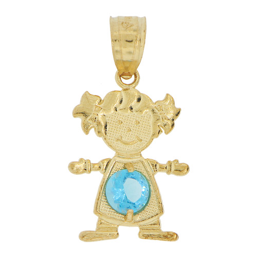 14k Yellow Gold, Small Girl Pendant Charm Blue December Created CZ Birthstone 12mm (P027-033)