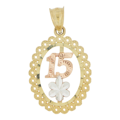 14k Tricolor Gold, Oval Filigree 15 Anos Quinceanera Pendant Charm 16mm (P028-023)