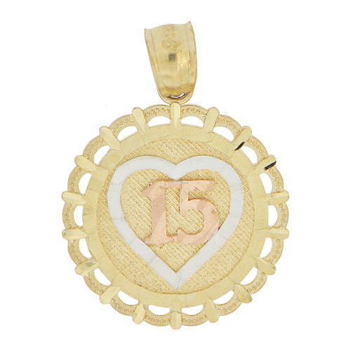 14k Tricolor Gold, Round Heart 15 Anos Quinceanera Pendant Charm 17mm (P028-024)
