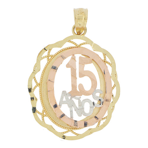 14k Tricolor Gold, Oval Filigree 15 Anos Quinceanera Pendant Charm 18mm (P028-025)