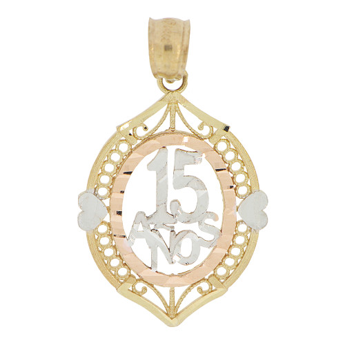 14k Tricolor Gold, Oval Filigree 15 Anos Quinceanera Pendant Charm 17mm (P028-026)