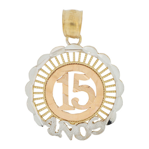 14k Tricolor Gold, Round Filigree 15 Anos Quinceanera Pendant Charm 18mm (P028-027)