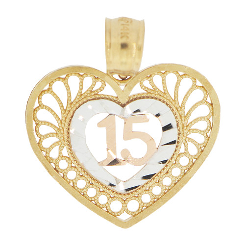 14k Tricolor Gold, Heart Filigree 15 Anos Quinceanera Pendant Charm Sparkly Cuts 18mm (P028-029)