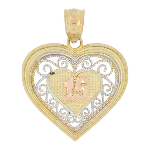14k Tricolor Gold, Heart Filigree 15 Anos Quinceanera Pendant Charm 19mm (P028-032)