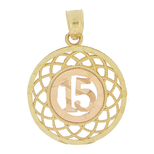 14k Yellow and Rose Gold, Round Filigree 15 Anos Quinceanera Pendant Charm 16mm (P028-033)