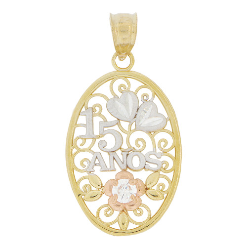 14k Tricolor Gold, Oval Filigree 15 Anos Quinceanera Pendant Charm Created CZ Crystal 16mm (P028-034)