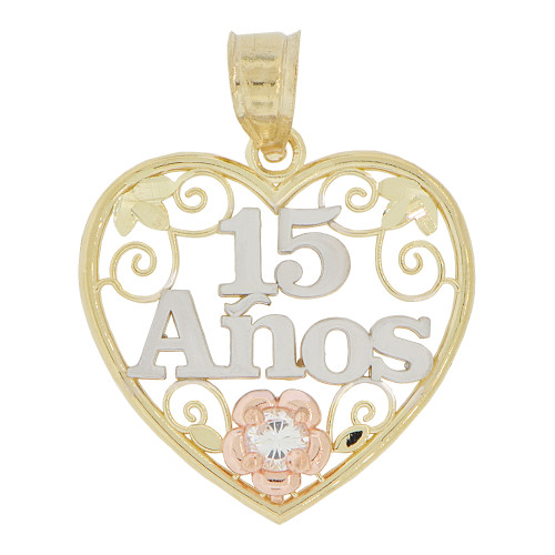 14k Tricolor Gold, Heart Filigree 15 Anos Quinceanera Pendant Charm Created CZ Crystal 20mm (P028-035)