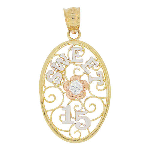 14k Tricolor Gold, Oval Filigree Sweet 15 Anos Quinceanera Pendant Charm Created CZ Crystal 16mm (P028-036)