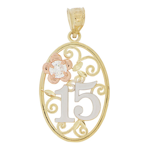 14k Tricolor Gold, Oval Filigree Design 15 Anos Quinceanera Pendant Charm Created CZ Crystal (P028-037)