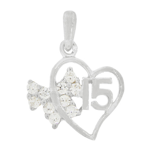 14k White Gold, Small Heart & Bow 15 Anos Quinceanera Pendant Charm Created CZ Crystals 14mm (P035-076)