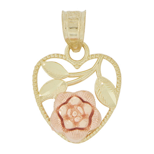 14k Yellow and Rose Gold, Small Size Filigree Heart Rose Flower Pendant Charm 14mm (P029-010)