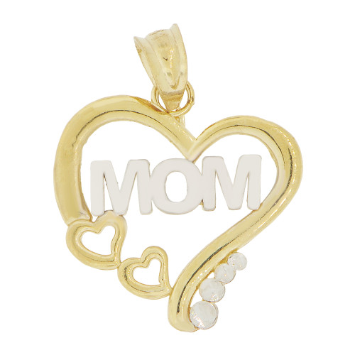 14k Yellow Gold White Rhodium, Small Size Heart Mom Mother Pendant Charm 16.5mm (P029-011)