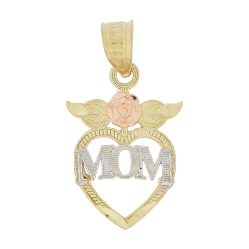 14k Tricolor Gold, Small Size Heart Mom Rose Flower Mother Pendant Charm 14mm (P029-012)
