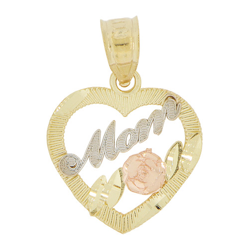 14k Tricolor Gold, Small Size Heart Mom Rose Flower Mother Pendant Charm 15mm (P029-013)