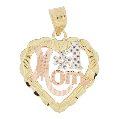 14k Tricolor Gold, Heart #1 Mom Rose Design Mother Pendant Charm (P029-014)