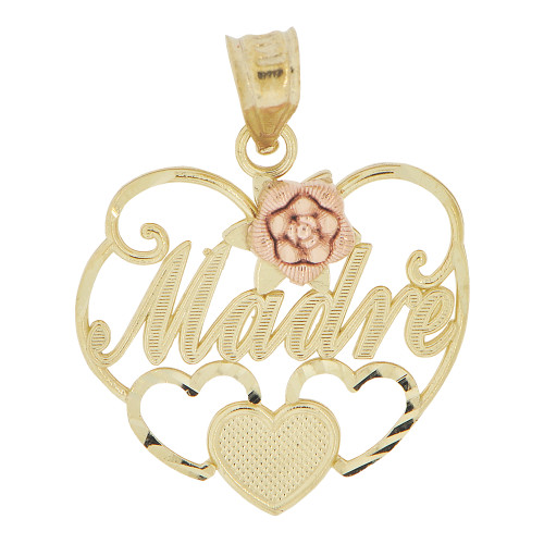 14k Yellow & Rose Gold, Heart Madre Rose Mom Mother Pendant Charm 21mm (P029-015)