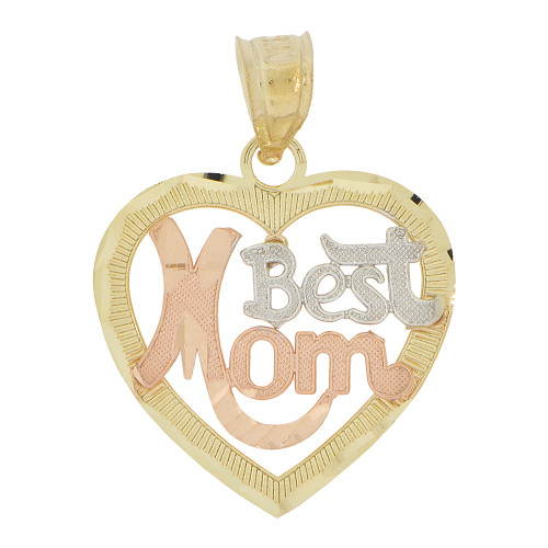 14k Tricolor Gold, Heart Best Mom Mother Pendant Charm 18mm (P029-016)