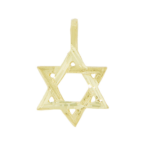 14k Yellow Gold, Mini Size Jewish Religious Love Star of David Pendant Charm 12mm (P030-014)