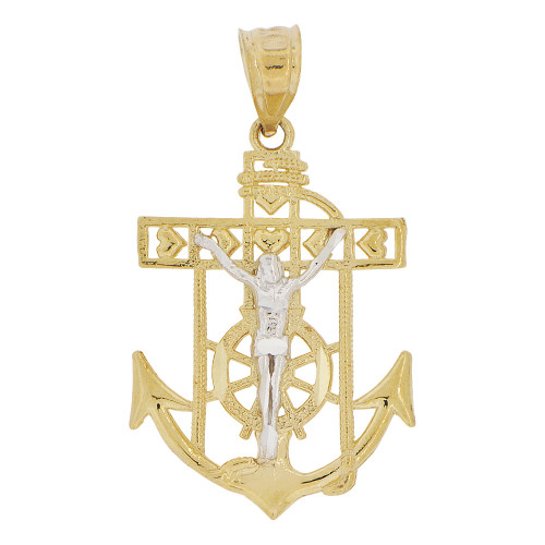 14k Yellow and White Gold, Christ Jesus Anchor Cross Crucifix Pendant Religious Charm 17mm (P032-001)