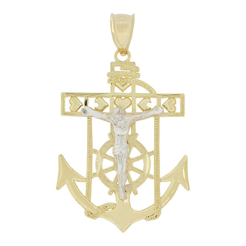 14k Yellow and White Gold, Christ Jesus Anchor Cross Crucifix Pendant Religious Charm 25mm (P032-003)